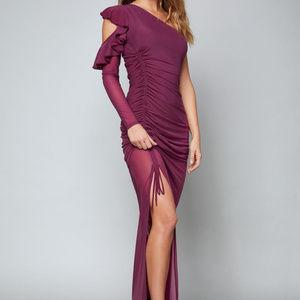 Maureen One Shoulder Bebe Gown Magenta Purple XS